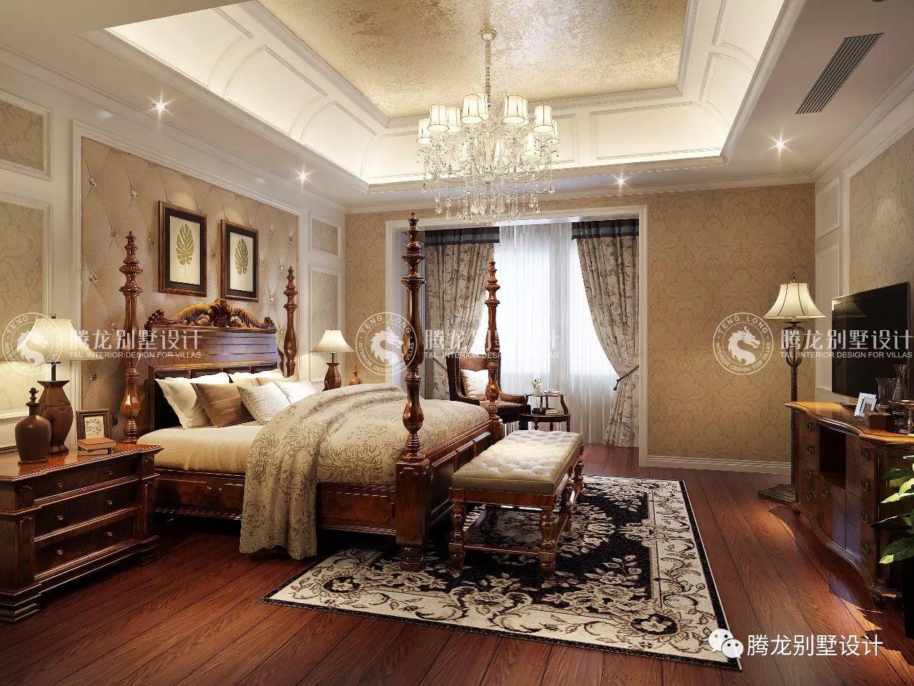新中式别墅三楼卧室装修效果图