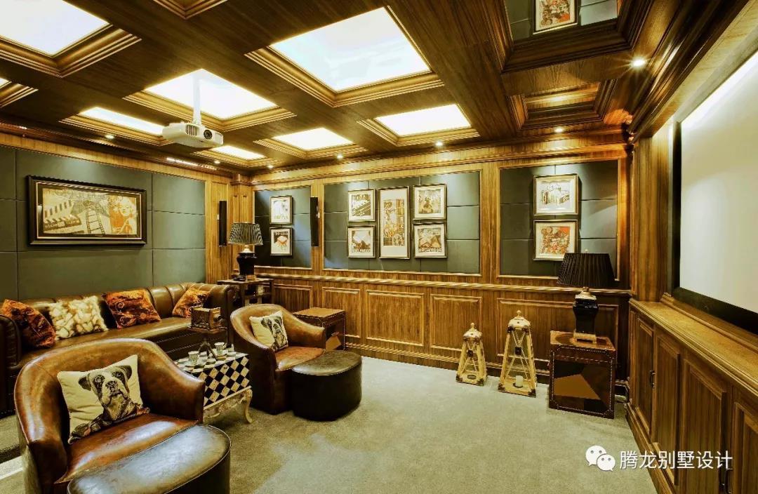 美式别墅装修实景图之地下影音室