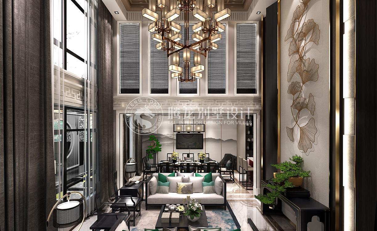 新中式客厅装修效果图,客厅装修效果图_上海腾龙别墅